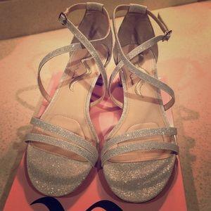 Nina Glittery Silver Strappy Sandals